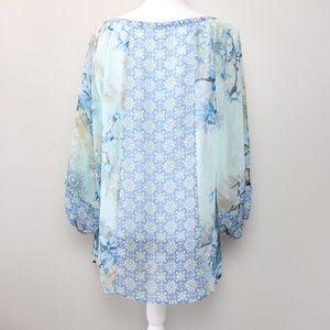 Anthropologie Tops - Fig&Flower Anthro Floral Sheer Long Sleeve Blouse